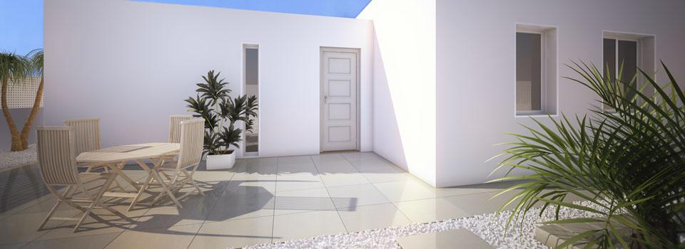 entrada principal de casa modular en hormigon celular