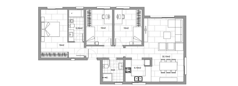 Plano casa modular perfecta en distribución en hormigón celular