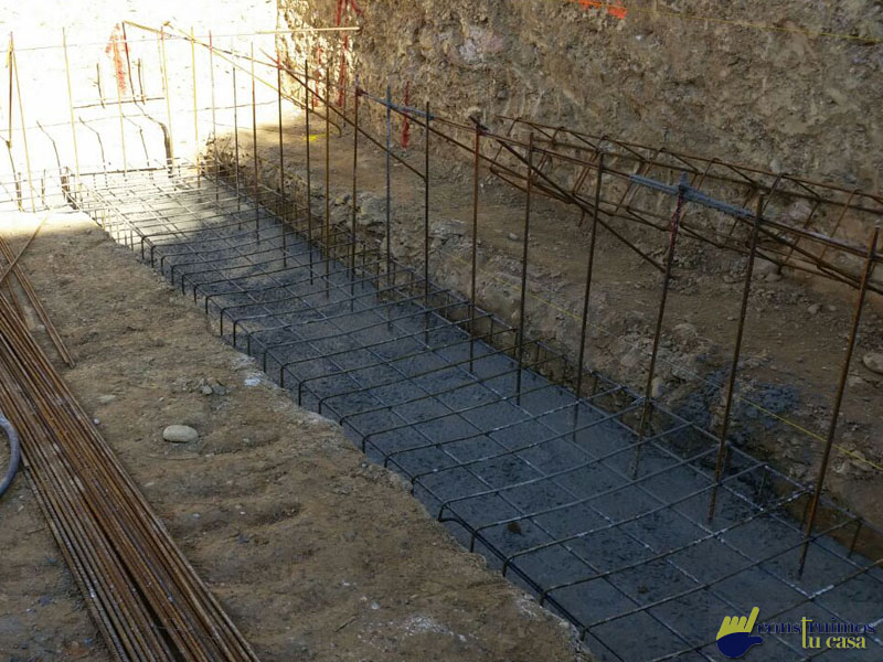 zapata de construcción para casa modular