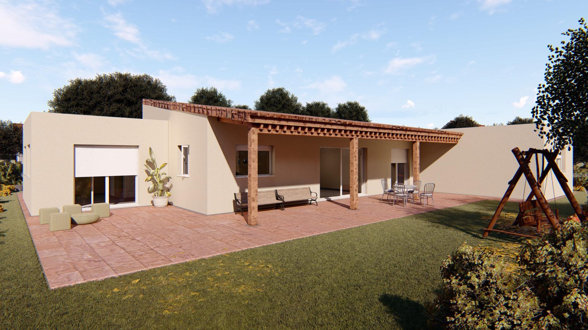 Render exterior de casa bioclimatica modelo ampurdan