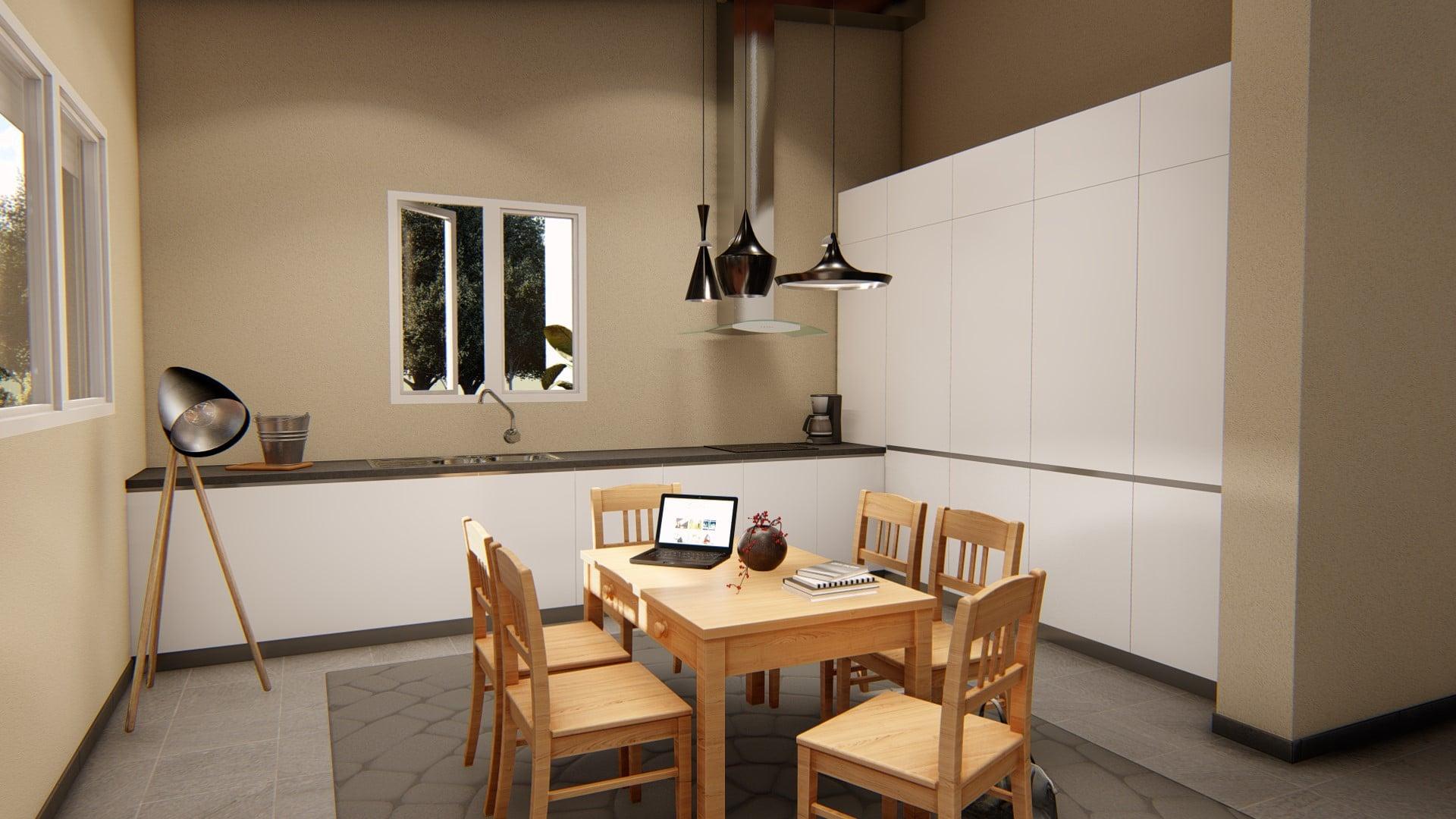 Render interior casa prefabricada cocina modelo ampurdan